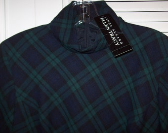 Vintage Ellen Tracy Watchplaid Wool Career Stunning Middy Dress by Linda Allard Size 8 NWT