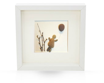 Irish handmade Pebble Art  Picture - Up, Up and Away- unique personalised gift