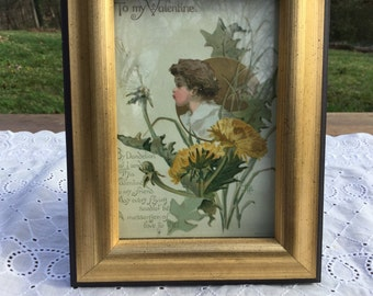 Turn of the century Valentine with dandelions, framed