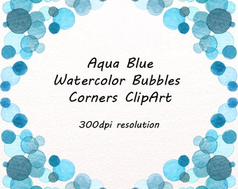 aqua blue watercolor bubbles corners clipart border bubbles ...