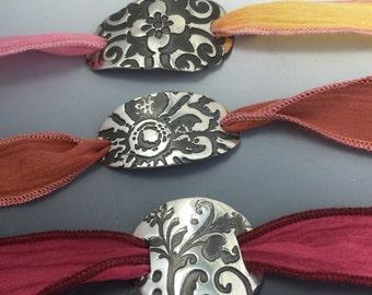 Fine Silver .999 PMC Hand Dyed Silk Ribbon Wrap Bracelet