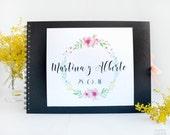 """Wedding Guest Book  Custom Guest Book """"Flowers"""""""