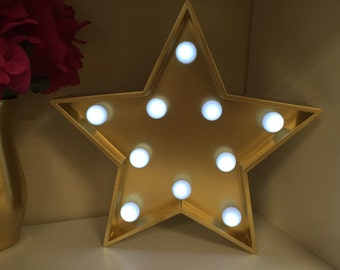 Marquee Star-Light Up Star-Gold Marquee Star-Marquee Star with Bulbs-Baby Room Decor-Nursery Decor-Girls Decor-Star Marquee-Sale