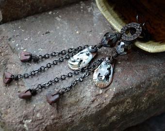 Rustic chain earrings, Rustic boho earrings, Bohemian earrings, Earthy earrings, Long dangle earrings, Hippie earrings, Metal glass earrings