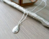 Sterling Silver Geometric Softly Faceted Teardrop Necklace