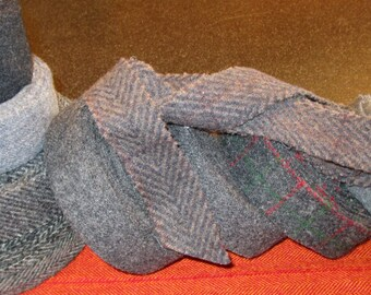 """Wool strips; dark grays; 3+ lbs., 1.5"""" wide; ready-to-use; sewing, crafts, quilting, rug braiding, rug hooking, fiber arts"""