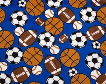 Sports Minky Fabric by the Yard Blue Multi Sports Shannon Fabrics One Yard or More Baby Girl Boy Minky Cuddle Fabric