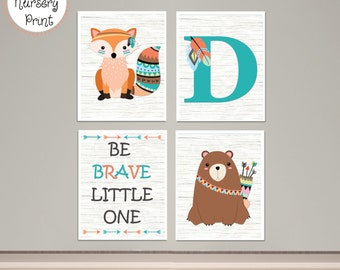 Tribal Woodland Animals Nursery Prints Custom Letter DIY Printable