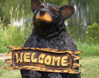 3' Welcome Bear-Bear Art, Bear Sculpture, Big Bear carving - chainsaw carved bear, carved by wildlife family artists - Free Shipping!
