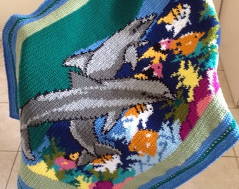 Dolphins Diving on Coral Reef Handmade Crochet Blanket