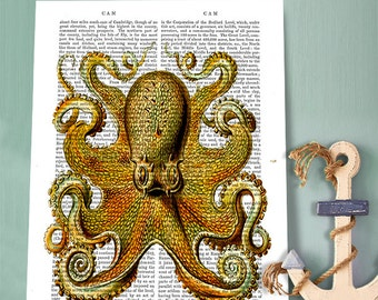 Yellow Octopus, Upcycled Dictionary Print book art octopus Illustration wall art wall decor wall hanging, nautical print, sea monster print