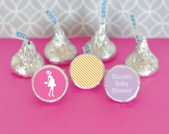 Hershey Kiss Labels-Baby Shower Favors-Stickers for Candy Kisses-Personalized Hershey Kiss Favor Labels (set of 108)