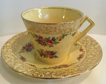 Vintage Royal Winton Grimwades Yellow Floral Duo 4698 from 1930s