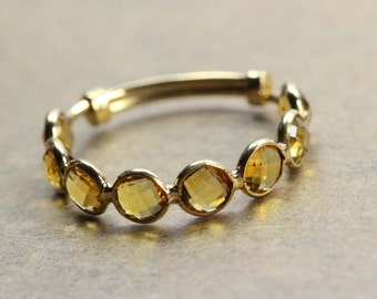 Stackble Ring, Yellow Citrine Ring, Natural Gemstone Ring, 18K Yellow Gold Ring, Ring for her, gift for her, fashion ring, unique gift