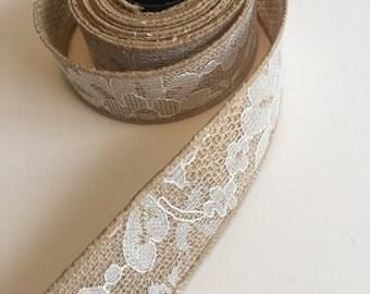 Floral Lace BURLAP Ribbon (Wired) Mason Jar Wrap -Wedding Decor - Burlap Wreath - Rustic wedding - Rustic decor - Burlap bow - DIY IDEA