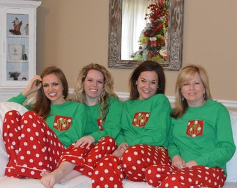Adult Christmas Monogrammed Pajama Set / Matching Christmas Pajamas Family Christmas Pajamas