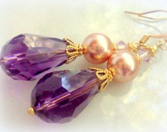 Rose Gold Swarovski Pearl Earrings,Purple Earrings, Handmade Purple Earrings, Purple Dangles, Vintage Style Earrings, Gypsy Earrings, Boho