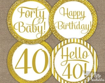 40th Birthday Cupcake Toppers - Gold 40th Birthday Toppers - Printable 40 Year Old Birthday Party Decorations - 40th Birthday Favor Tags GLD
