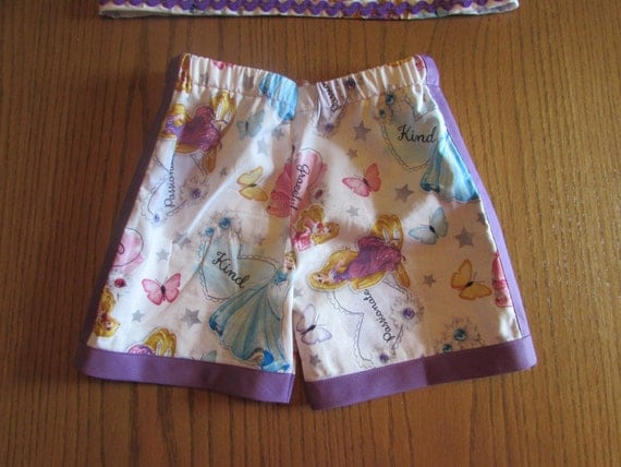Princess shorts / cotton shorts/toddler shorts/cinderella shorts/sleeping beauty shorts/repunzel shorts/disney shorts/girls shorts