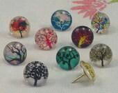 Decorative Push Pins, Drawing Pins, Tree Push Pins, Thumbtacks, Cork Board Pins, Trees Drawing Pins, Teachers Gift
