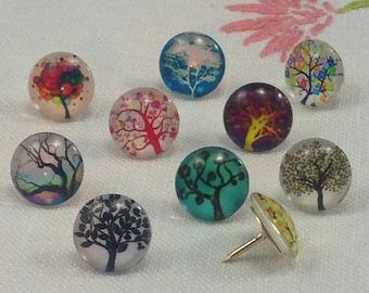 Decorative Push Pins, Drawing Pins, Tree Push Pins, Thumbtacks, Cork Board Pins, Trees Drawing Pins, Map Pins, Teachers Gift