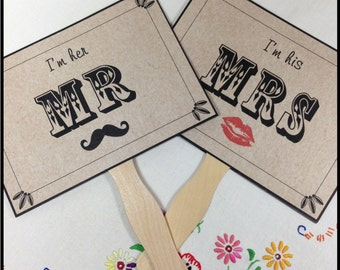 Paddle Fans, Double Sided Wedding Sign, Kraft Card Style Wedding Sign, Mr & Mrs Wedding Sign, Thank You Wedding Sign, Photo Prop Signs