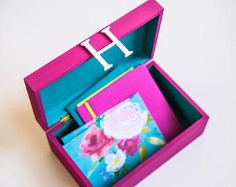 Keepsake Box Memory Box Photo Box Pencil Box Jewelry Box Gift for Her Personalized Monogrammed Wedding Gift Bridesmaid Gift Baby Shower Gift