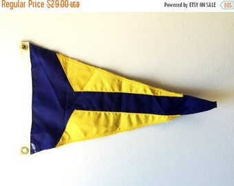 ON SALE Yellow and Blue Vintage Nautical Flag