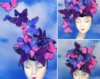 "The ""Madame Butterfly"" Pink, Purple, Violet Adjustable Feather Butterfly Fascinator Headpiece Hatinator - Ascot, Derby, Races, Burning Man"