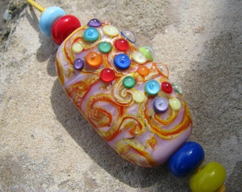 "Handmade Lampwork glass pendant, Lampwork glass focal bead, ""Cheerful"""