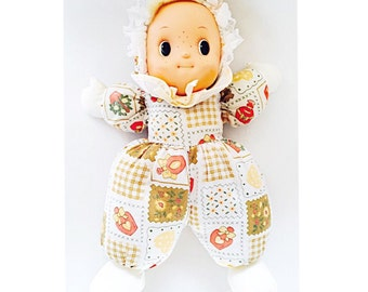 "Vintage Doll: 15"" Soft Body Baby; Patchwork Material, Plastic Face; Polyfilled; 1980s or 1990s?"