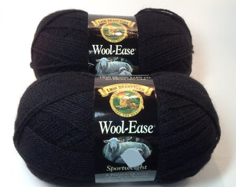 Lion Brand Wool-Ease Sportweight in Color Black, Lot of 2 Skeins