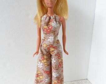 70s Retro Barbie Clothes Handmade Barbie Clothing Unique Fashion Doll Clothes Barbie Pants Set Barbie Doll Clothes Barbie Doll Bell Bottoms