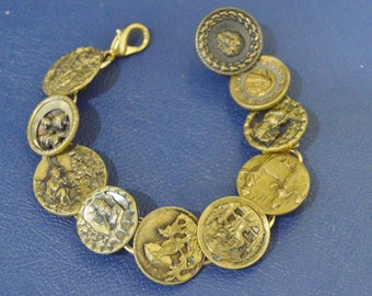 Vintage Handmade Chinese Asian Brass Button Bracelet