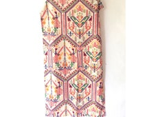 Vintage Retro 1960s Fabric Textile Tablecloth Tribal Ethnic Colorful Wall Hanging Home Decor
