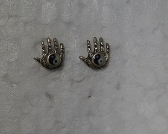 Sterling Silver Hand with Yin Yang symbol