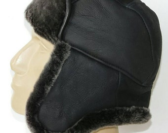 Genuiene Leather Aviator Tropper Bomber Pilot Cap Hat Winter Modell with Natural Lamb Fur XL size 0921