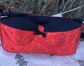 Red Asian style bra purse with flowers, never used. 90s era.