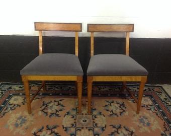 Klismos-Style Burl Wood Chairs