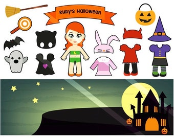 Halloween Paper Doll Printable PDF - Personal Use