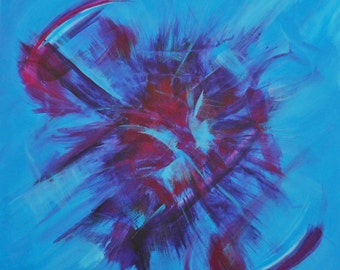 BLUE SPLASH abstract painting 50 cm square canvas