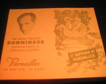 Rare DUNNINGER QUESTIONAIRE CARD-Versailles N.Y.