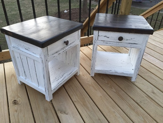 Bed furniture top view - Rustic Farmhouse Nightstand By Bostonfurnitureco On Etsy