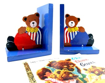 Vintage 1980's Art of Play Pair of  Sturdy, Colourful, Wooden Teddy Bear Bookends for Children, Non-Toxic Paint