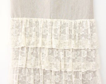 Linen and Lace Curtain Panels (set of 2) | Vintage Lace Ruffled Curtain Panels