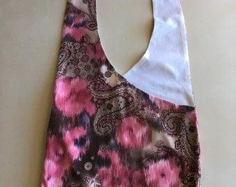 Handmade Upcycled Pink Floral Hobo Shoulder Purse