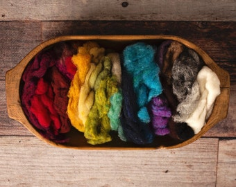 Wool Batting for needle felting or wet felting - rainbow scrap bag - value pack of many colors - Harrisville Fleece felting wool
