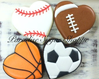 Sports Football Baseball Soccer Basketball Heart Valentines Day Decorated Cookies