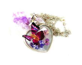 Silver heart pendant glass with flower with its inclusion dried butterfly