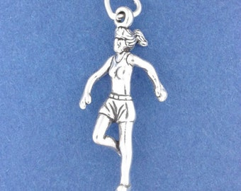 Female RUNNER Charm .925 Sterling Silver, Marathon, Running, Jogging Pendant - lp1689